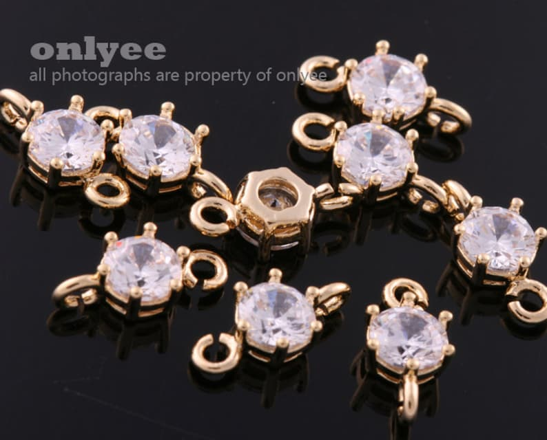 20pcs-11mmX5mm Bright Gold plated clear LUX Cubic zirconia Connectors,crystal charms,bridal jewelry weddings K940G