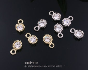 12pcs-9mmX5.20mmGold,Rhodium plated Cubic zirconia Round Drop Charm-Clear(M323)