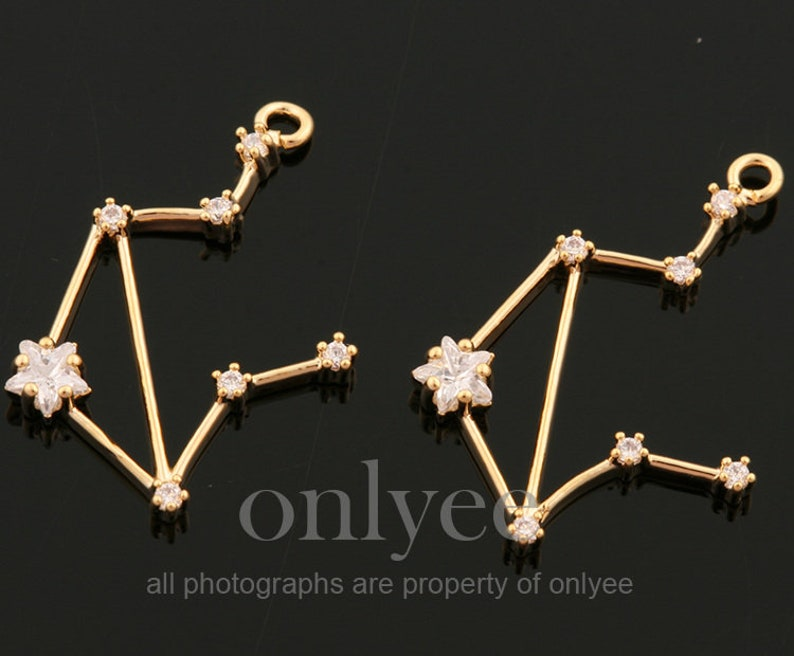 Jewelry supply pendant Libra connector 2pcs10pcs-17mmX20mm Bright Rhodium plated Brass Zodiac Sign with mini cubics charm JA0717S-I