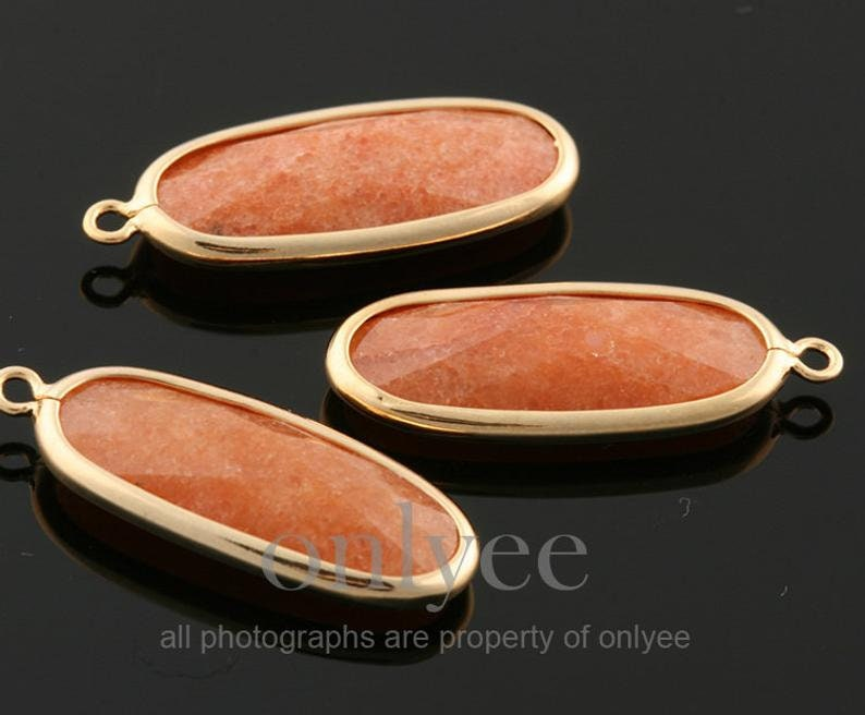 double sided Marble Gemstone Crazy Agate SA0262C 2pcs-23mmX8mm Bright Gold plated Brass pendant Frame