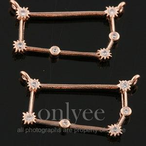 connector Scorpius K1435S-J 2pcs10pcs-5mmX19mm Bright Rhodium plated Brass Zodiac Sign with mini cubics charm pendant Jewelry supply