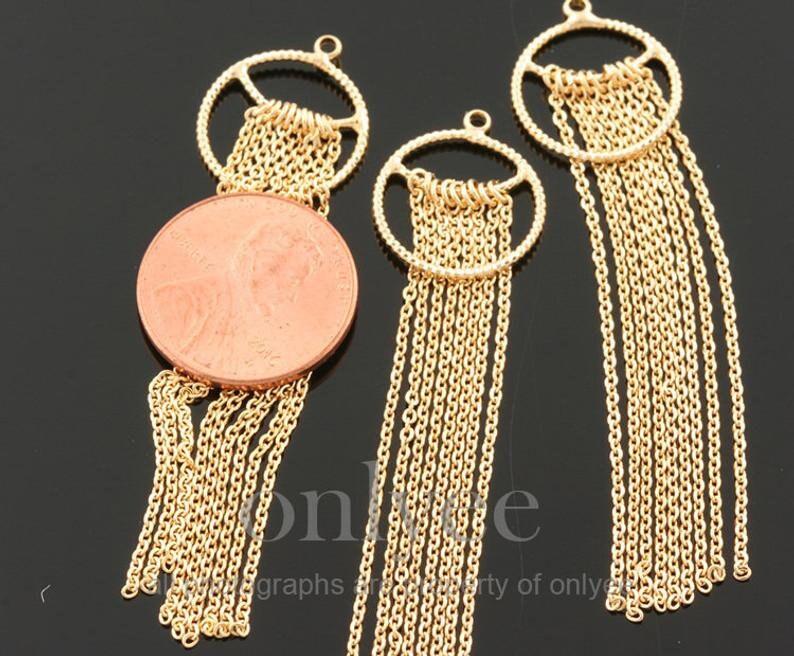 TA0104S 2PCS-62mmX15mm Rhodium plated Brass Long Round Chain tassels jewelry tassels Deco
