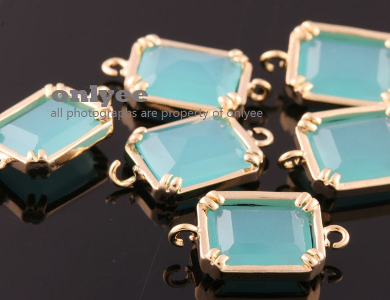 links for bracelet charms connectors With Glass-Mint 2pcs-16mmX9mm Rhodium plated Brass Geometric Rectangle connectors M381S-E