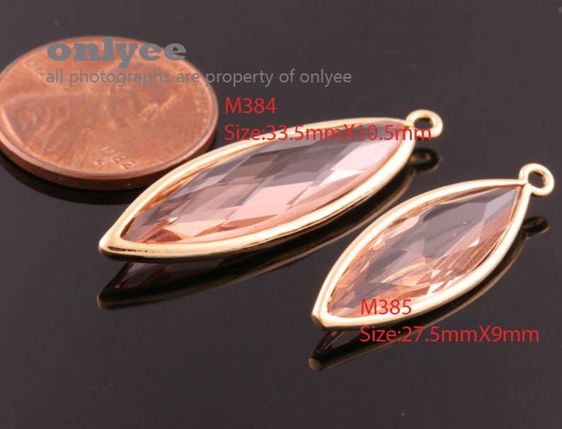 2pcs-27.5mmX9mmRhodium plated Brass NEW tear drop Framed glass with pendants-Charcoal M385S-D