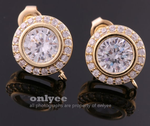 2 Pcs-Bee Rhodium Plated over Brass Clear Cubic Zirconia Connector .