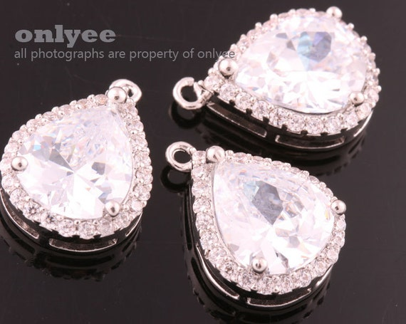 M378S-B 2pcs-15mmX13mmLarge Rhodium plated Brass Faceted NEW Round Drop With Glass pendants-Charcoal