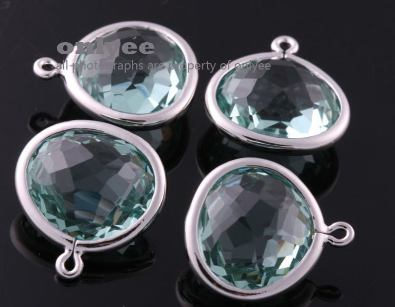2pcs-16mmX14.2mm NEW Rhodium plated Brass Faceted Double-Sided Delicate glass pendants-Bluelite M414S-E