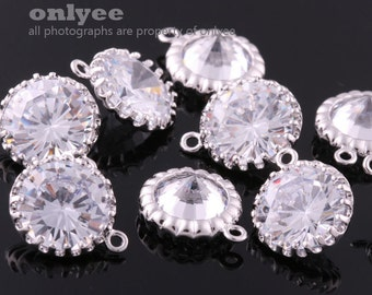 2pcs-12mm Rhodium plated (clear) Cubic zirconia Round dangle(M305S)