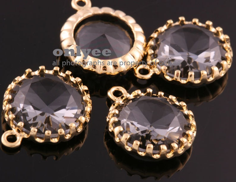 M378G-B 2pcs-15mmX13mmLarge Gold plated Brass Faceted NEW Round Drop With Glass pendants-Charcoal