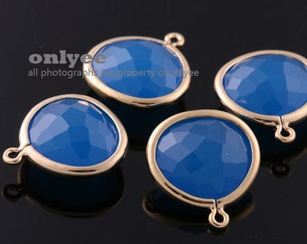 2pcs-16mmX14.2mm NEW Gold plated Brass Faceted Double-Sided Delicate glass pendants-VividBlue(M414G-D)