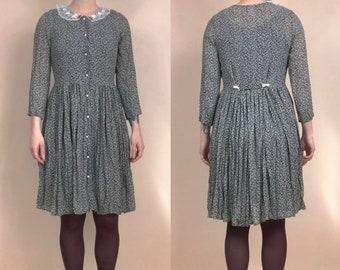 80s gray silk midi dress  paisley puff sleeve dress  peter pan collar shirtdress