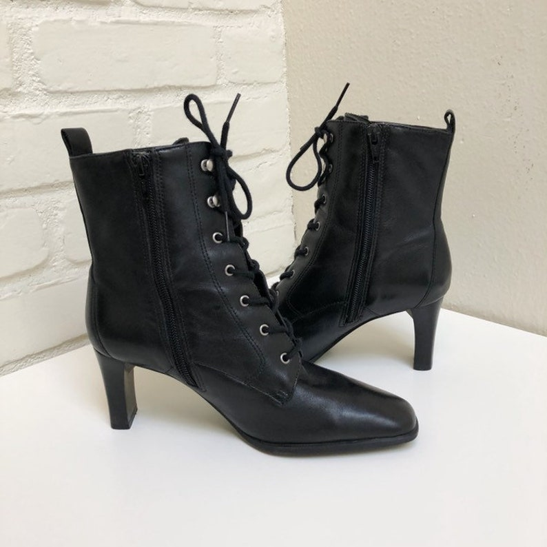 Size 7 Vintage 90s Markon Black Leather Lace up Square Toe Ankle Booties