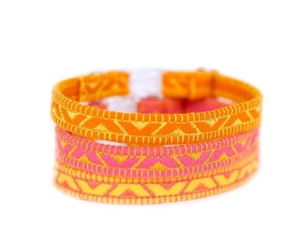 Felt Cat Collar - Neon Collection - Embroidered - Adjustable - Optional ID Tag