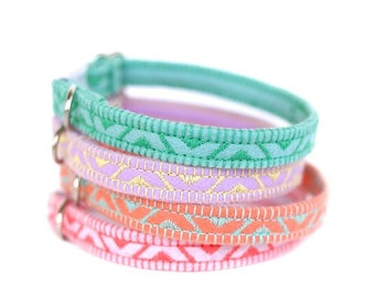 Felt Cat Collar - Pastel Collection - Embroidered - Adjustable - Optional ID Tag