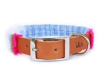 Dog Collar with Textile Sleeve   Holiday Edition Indigo   Optional ID Tag