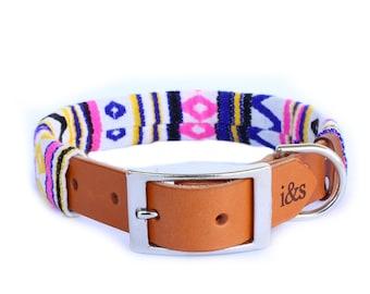 Dog Collar with Textile Sleeve   Zig Zag Purple   Optional ID Tag
