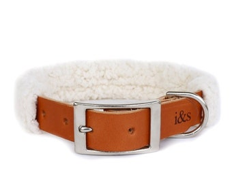 Dog Collar with Textile Sleeve   Faux Sheepskin   Optional ID Tag