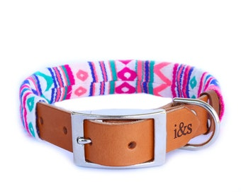 Dog Collar with Textile Sleeve   Zig Zag Fuchsia   Optional ID Tag