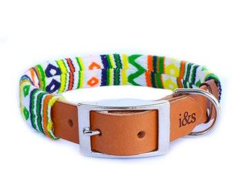 Dog Collar with Textile Sleeve   Zig Zag Green   Optional ID Tag