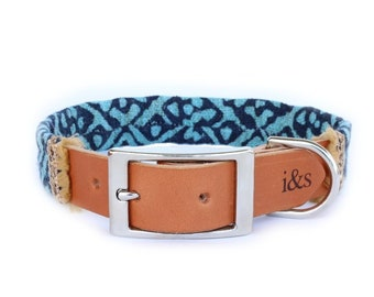 Dog Collar with Textile Sleeve   Holiday Edition Teal   Optional ID Tag
