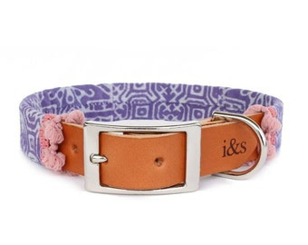 Dog Collar with Textile Sleeve   Holiday Edition Lavender   Optional ID Tag