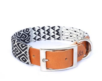 Dog Collar with Textile Sleeve | Black and White Tapestry | Optional ID Tag