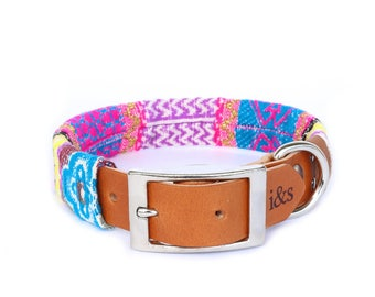 Dog Collar with Textile Sleeve | Neon Tapestry | Optional ID Tag