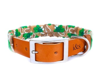 Dog Collar with Textile Sleeve   Emerald Fleur   Optional ID Tag