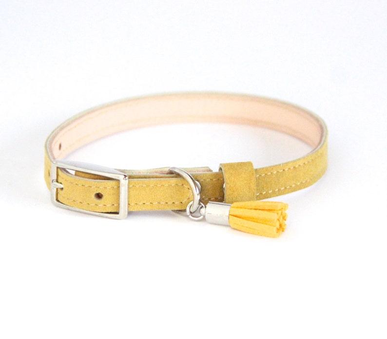 Cat Collar / Small Dog Collar // Mustard // Optional ID Tag image 0