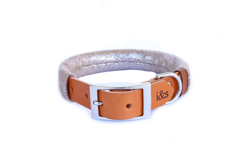 Dog Collar with Textile Sleeve  Luxe Rose Gold  Optional ID image 0