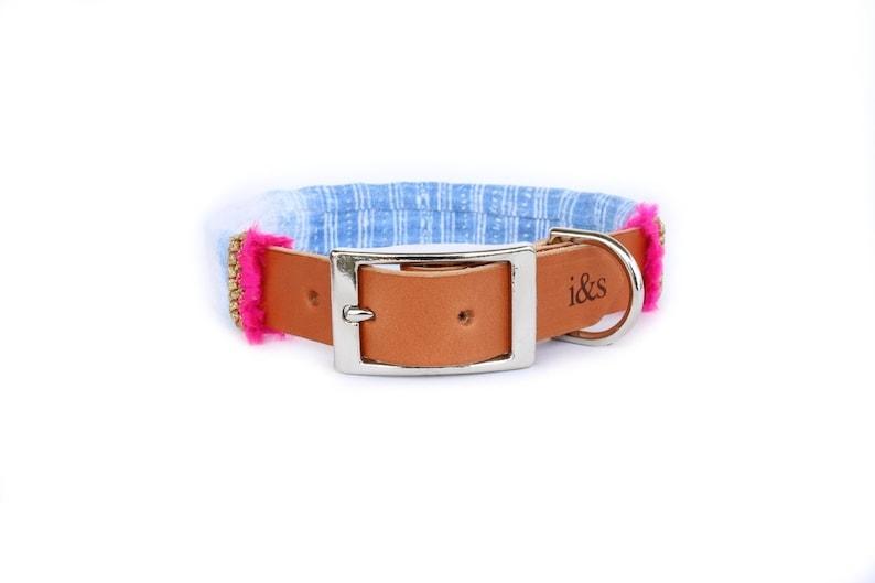 Dog Collar with Textile Sleeve  Holiday Edition Indigo  image 0