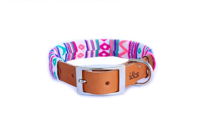 Dog Collar with Textile Sleeve  Zig Zag Fuchsia  Optional ID image 0