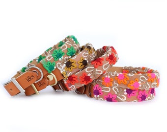 Dog Collar with Textile Sleeve   Fleur Collection   Optional ID Tag