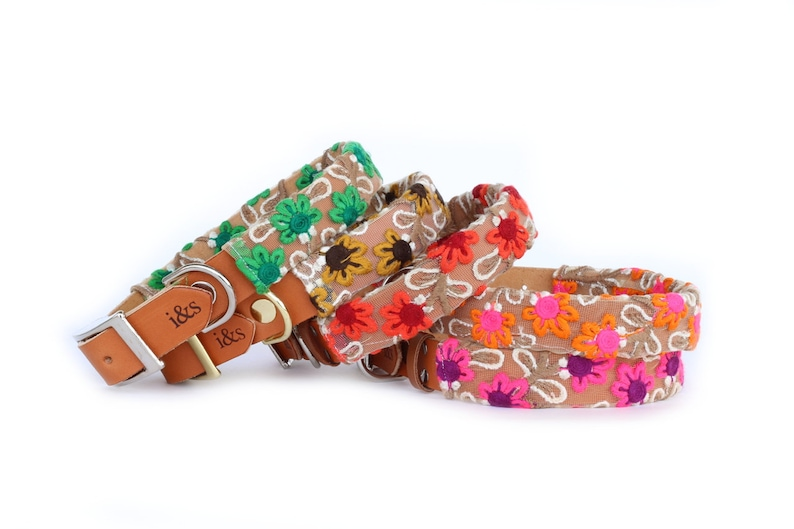 Dog Collar with Textile Sleeve  Fleur Collection  Optional image 0