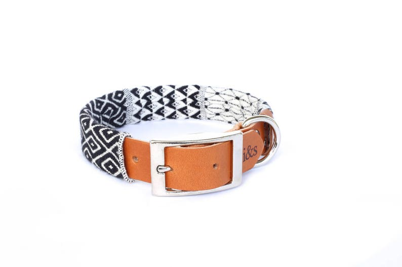 Dog Collar with Textile Sleeve  Black and White Tapestry  image 0