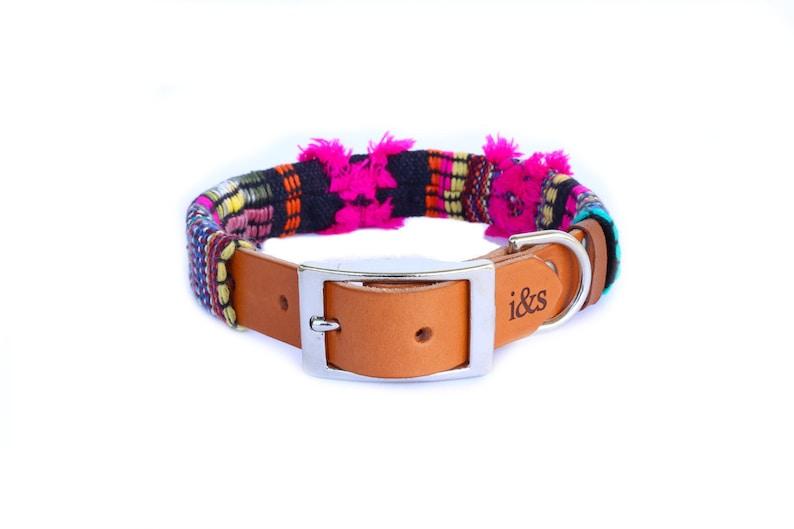 Dog Collar with Textile Sleeve  Fuchsia Fringe  Optional ID image 0