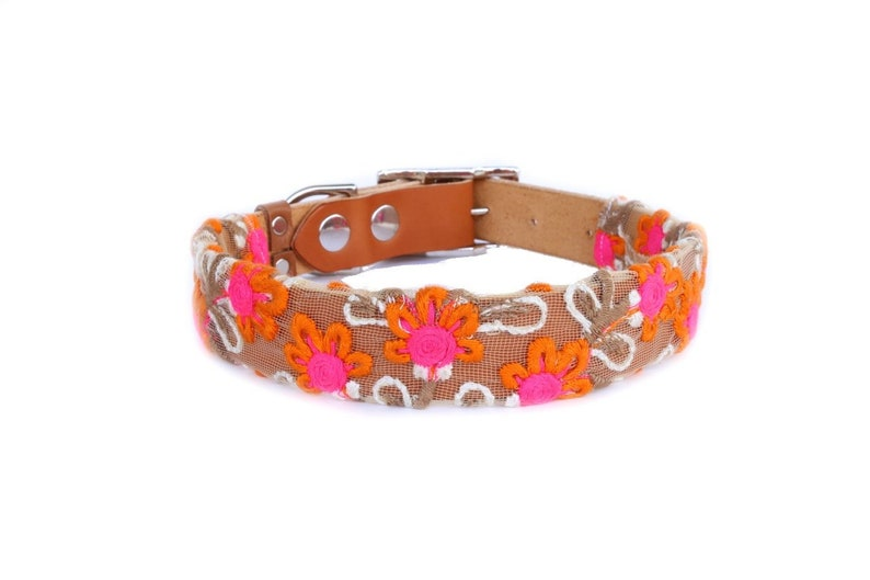 Dog Collar with Textile Sleeve  Tangerine Fleur  Optional ID image 0