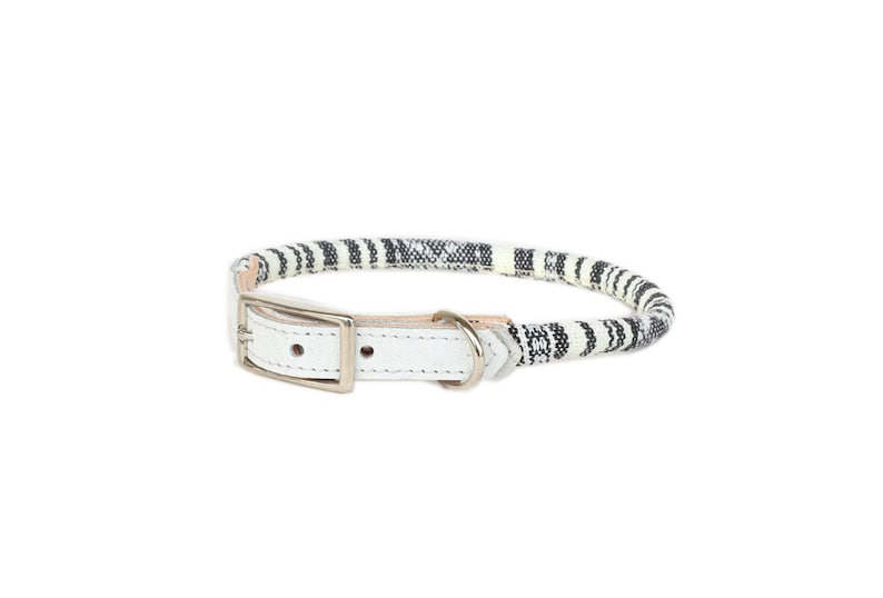 Cat Collar or Small Dog Collar  Grey & White image 0