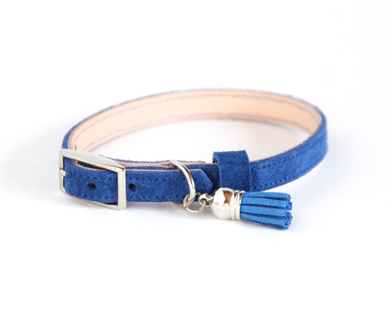 Cat Collar / Small Dog Collar // Blue Suede // Optional ID Tag image 0