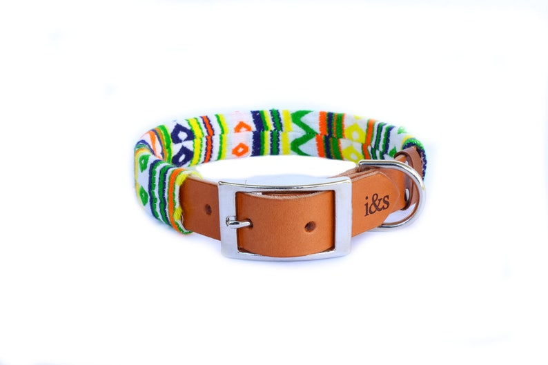 Dog Collar with Textile Sleeve  Zig Zag Green  Optional ID image 0