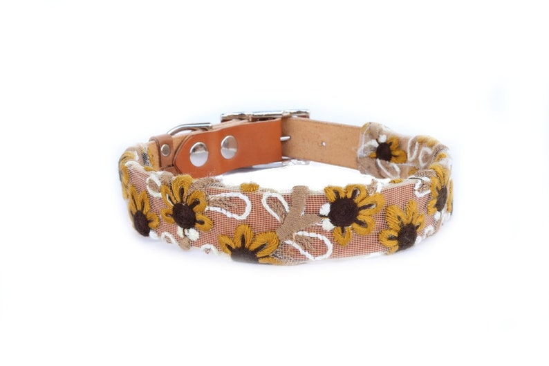 Dog Collar with Textile Sleeve  Sun Fleur  Optional ID Tag image 0