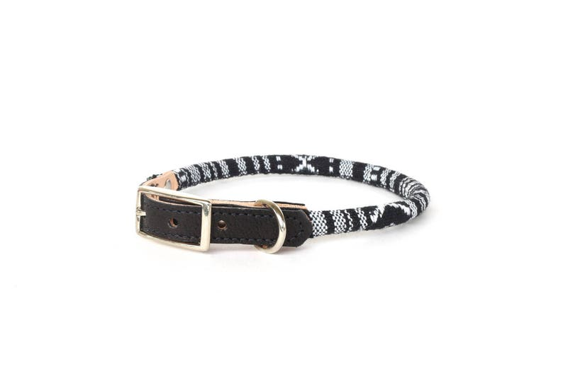Cat Collar or Small Dog Collar  Black & White image 0