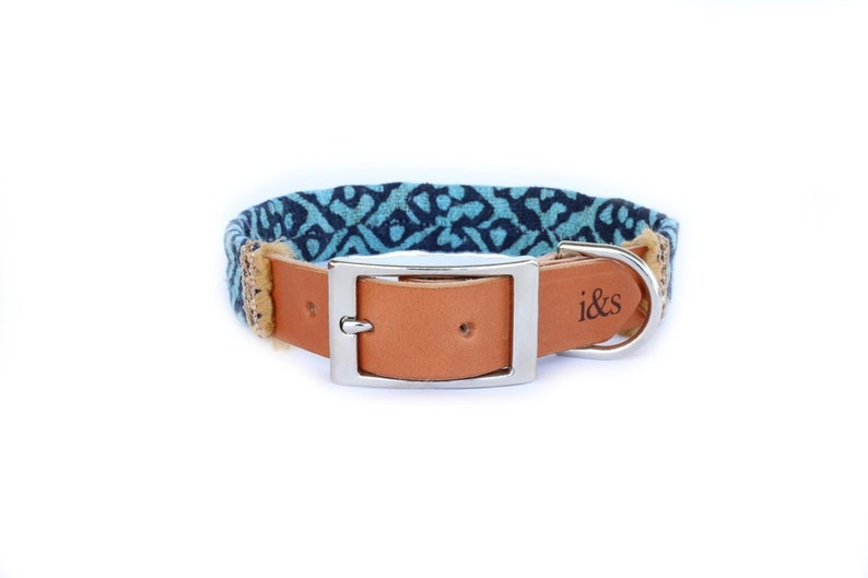 Dog Collar with Textile Sleeve  Holiday Edition Teal  image 0