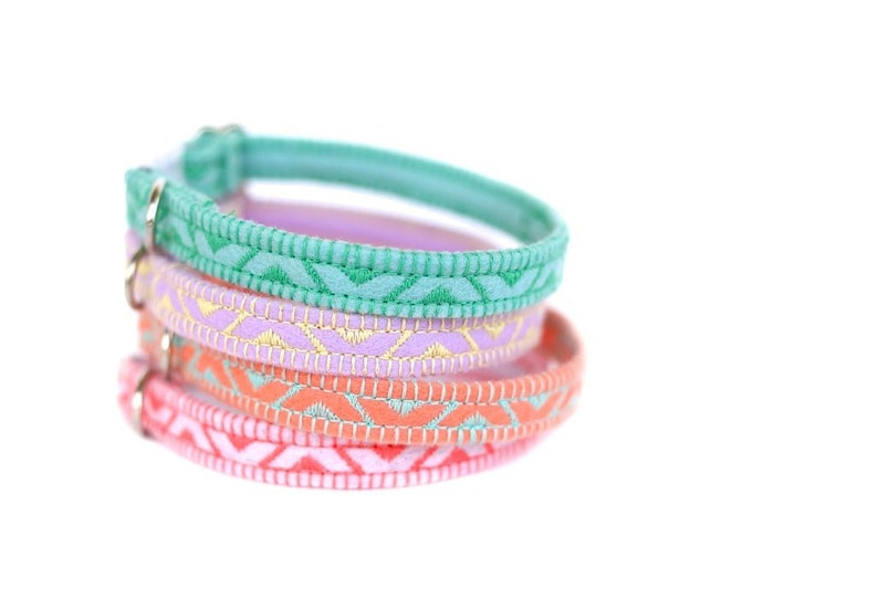 Felt Cat Collar  Pastel Collection  Embroidered  Adjustable image 0