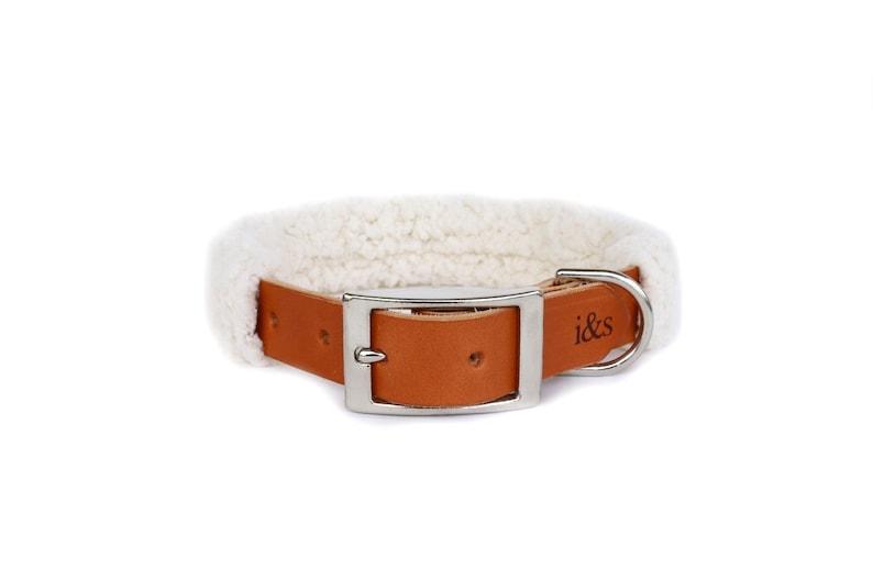 Dog Collar with Textile Sleeve  Faux Sheepskin  Optional ID image 0