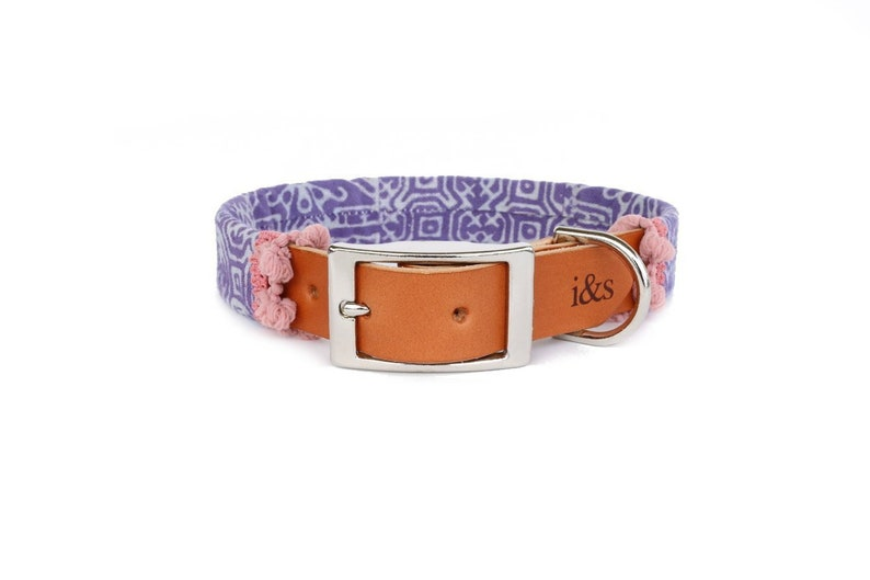 Dog Collar with Textile Sleeve  Holiday Edition Lavender  image 0