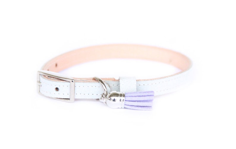 Cat or Small Dog Collar // White Blue // Optional ID Tag image 0