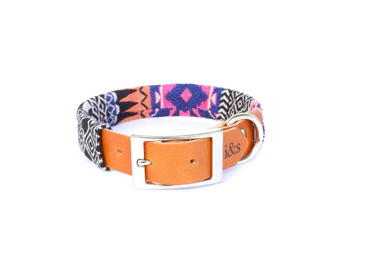 Dog Collar with Textile Sleeve  Pink Tapestry  Optional ID image 0