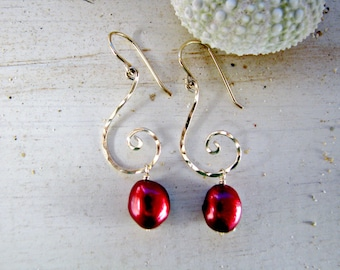 Hawaii Pearl Earrings, Koru Earrings, Jewelry with Meaning, Red Pearl Gold Earrings, Eternity, Graduation GIft, Crimson Red, Cranberry