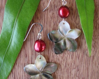 Plumeria Earrings, Mother of Pearl Plumeria, Shell Plumeria, Hawaii Flower Earrings, Frangipani, Hawaiian Jewelry, Red Pearl Earrings